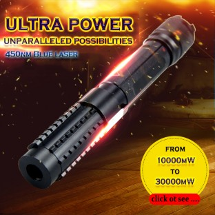 ultra powerful 450nm 10000mW - 50000mW blue laser pointer