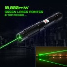 10000mW 532nm Beam Light 5-in-1 Green Laser Pointer Pen Kit Black