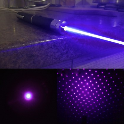 5 in 1 Middle Open 405nm Violet Laser Pointer Kaleidoscopic Pen 5mW - 200mW