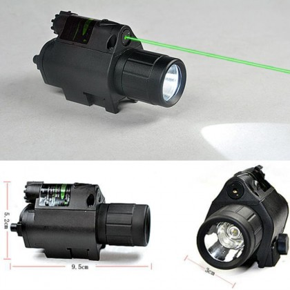 Hunting CREE LED Flashlight & Green Laser Sight Scope Picatinny Mount