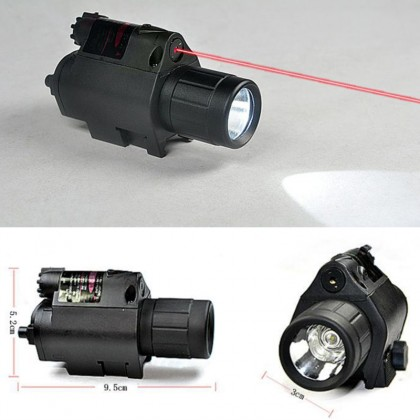 CREE LED Flashlight & Red Laser Sight Scope Picatinny Mount hunting Outdoors