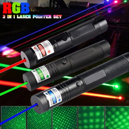 RGB 3-in-1 Laser Pointer set w/ Zoomable Beam & Lens kit, free Protection Glasses